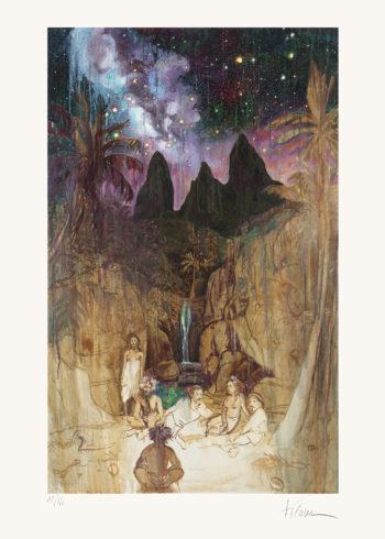 Oviri et Tusitala (le conteur d'histoires) représentés par Titouan Lamazou