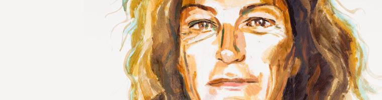 Portait de Florence Arthaud par Titouan Lamazou. Huile sur papier, marouflé sur toile.
